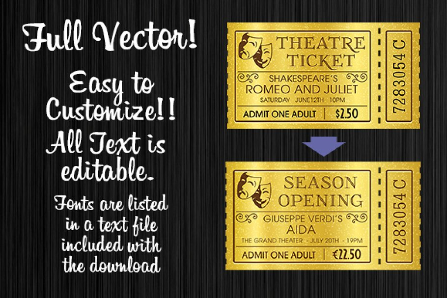 golden tickets templates set custom designed