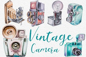 Watercolor Vintage Camera Clipart