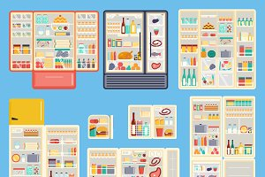 Open refrigerator products vector