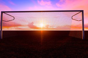Soccer goal on the football field
