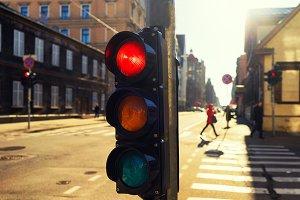 Traffic light sunset in Riga