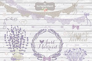 Lavender Rustic wedding clipart