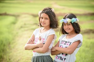 Portrait image of two little girls