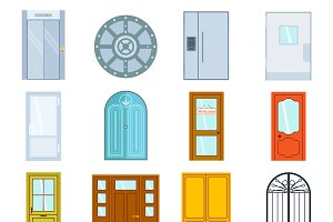 Doors isolated vector illustration