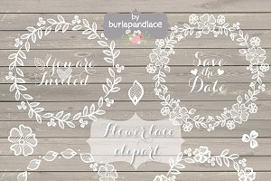 Rustic lace wreath wedding clipart