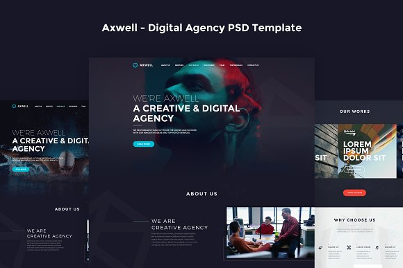 Axwell Digital Agency Psd Template Website Templates Creative Market