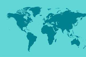 World map flat light blue