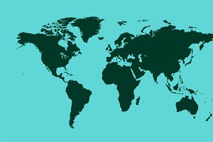 World map light green