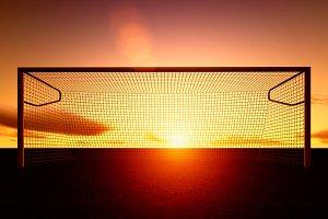 football field at sunset.