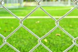 Metal net at soccer field