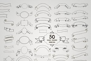 50 Vector Drawn Ribbons.