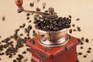 beans flow into grinder