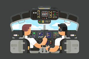 Pilots in cockpit flat design