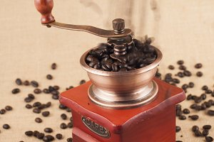 coffee grinder with beans inside