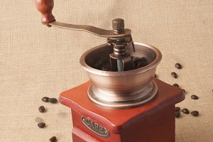 coffee grinder on burlap