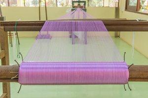 Weaving loom of Raw silk thread