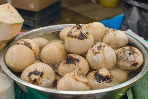 Coconut shell was burn by fire