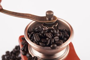 coffee beans in grinder