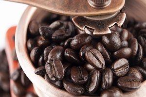 beans grinding closeup