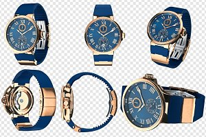 Wrist watch gold mechanical set