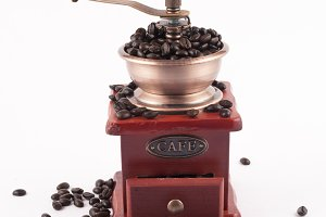 beans in a coffee grinder