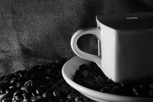 coffee cup and beans isolated