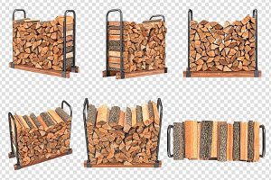 Firewood stack metal rack, set