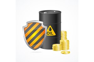 Oil Barrel Price Safety Concept.