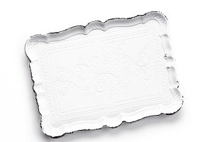 white tray on a white background