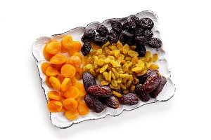 dried fruits, white tray