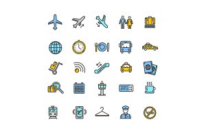 Airport Outline Colorful Icon Set.