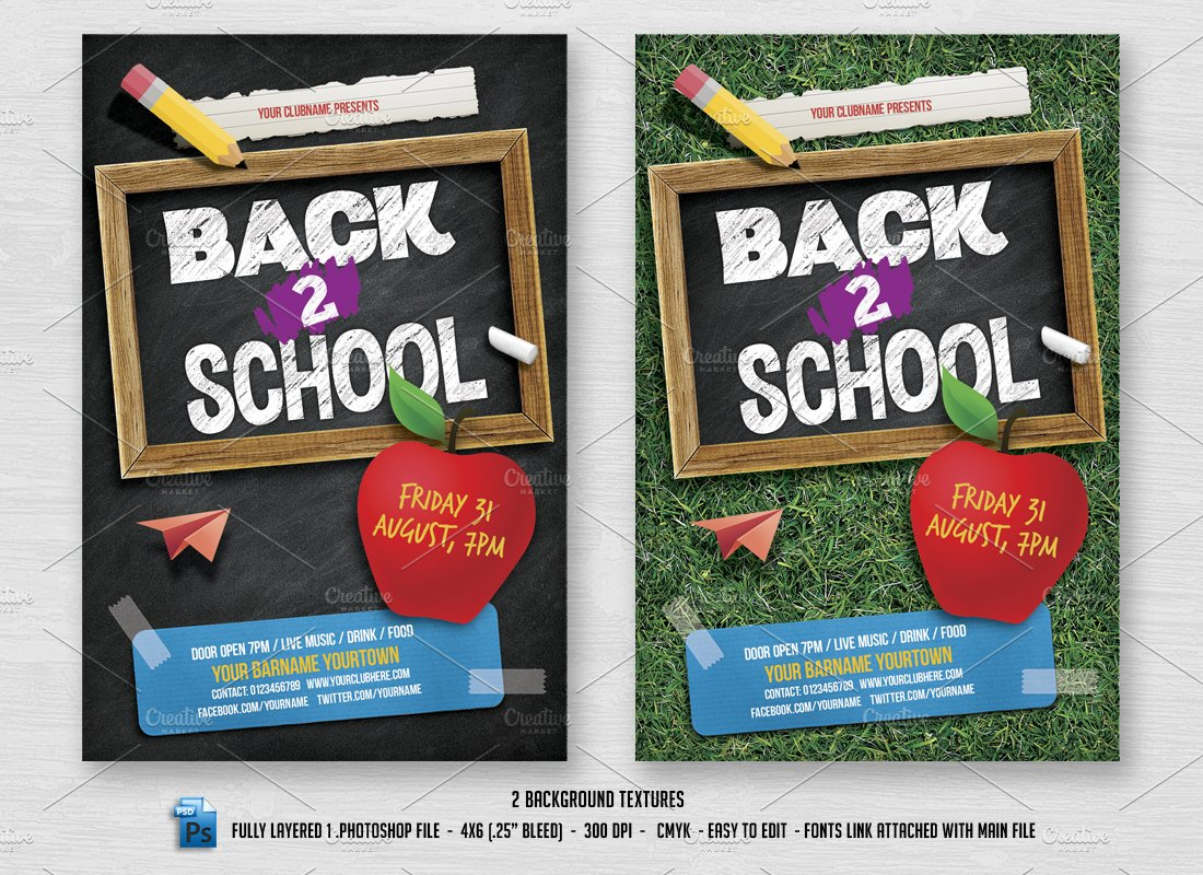 Back 2 School Flyer Flyer Templates Creative Market