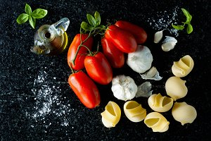 ripe tomatoes, olive oil and garlic