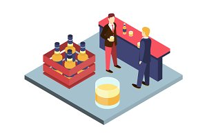 Men in suits at the bar Isometric 3D