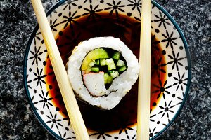 sushi roll in a plate