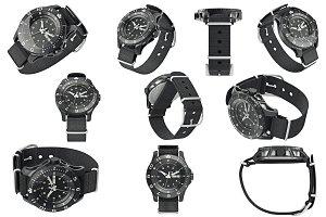 Military watch black, set