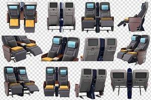Airplane chairs passenger, set