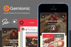 Gemionic - Ionic Social app theme
