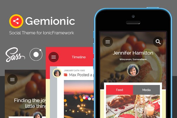 HTML/CSS Themes: Audacitus - Gemionic - Ionic Social app theme