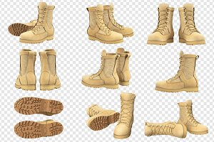 Military boots army, beige, set