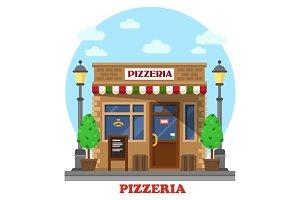 City italian pizzeria facade