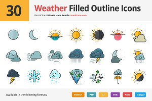 30 Weather Filled Outline Icons