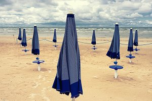 Umbrellas on the beach in Jurmala