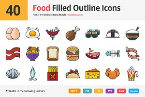 40 Food Filled Outline Icons