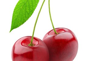 Two sweet cherries, isolated