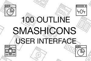 100 User Interface Icons - Outline