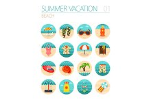 Beach icon set. Summer. Vacation