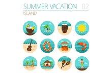 Island beach icon set. Vacation
