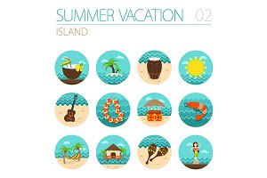 Island beach icon set. Vacation