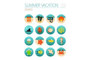 Diving icon set. Summer. Vacation